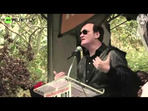 Quentin TARANTINO Speaks at Anti Police Brutality Protest in New York – video