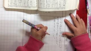 黙々と宿題をしている動画です。