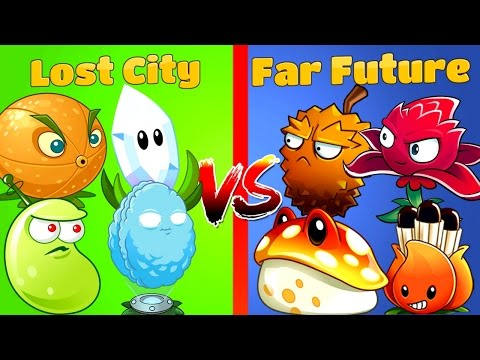 Plants vs Zombies 2 Gameplay Challenge Lost City vs Far Future Plants PVZ 2 Primal