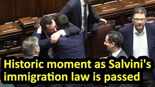 Matteo Salvini's immigration law is passed in Italian parliament, English subtitles, Decreto Salvini