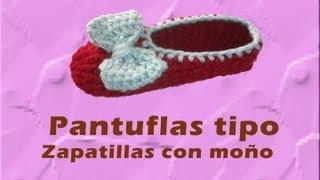 Repeat youtube video Pantunfla tipo Zapatilla con Moño