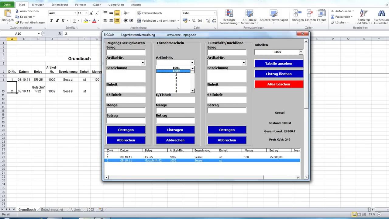 Lagerverwaltungsprogramm Auf Basis Einer Excel Datei 756
