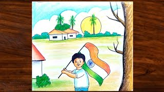 How to Draw Independence Day Scenery for Beginners | Easy Drawing Kids Holding Indian Flag