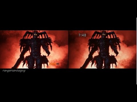 PR Super Samurai/ Shinkenger Red Ranger vs Xandred First Fight Split Screen (PR and Sentai version)