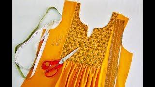 Stylish A - Line Top with Rectangle Yoke    DIY Designer Yoke Top Cutting and Stitching