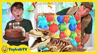 Dinosaur Giant Surprise Party! Birthday Toy Hunt with Jurassic World Lego Toys & Dinosaurs Playsets