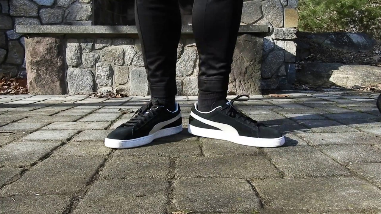 BLACK & WHITE PUMA SUEDE CLASSIC ON FEET REVIEW! - YouTube