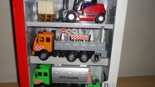 DICKIE TOYS BEST 3 NEW VEHICLES CARGOLIFT FORKLIFT TRUCK FLATBED WITH ROLLER & STREET CLEANER