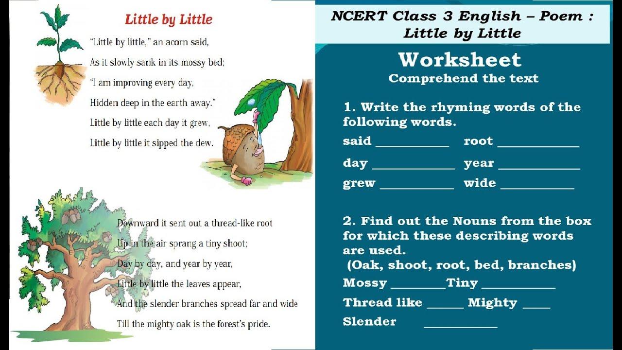 Little By Little Class 3 Worksheet Activity Youtube