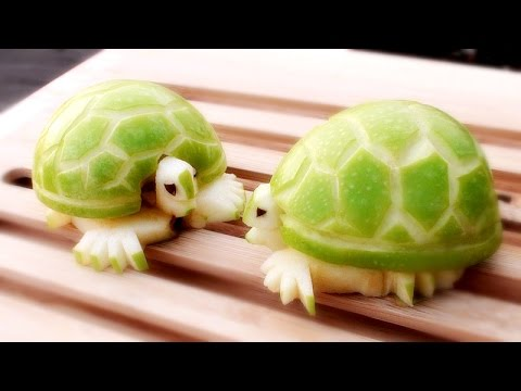How to make apple turtles fruit carving garnish sushi for Art of food decoration