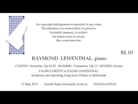 RAYMOND LEWENTHAL  4th Butler University Romantic Festival   INDIANAPOLIS 1973