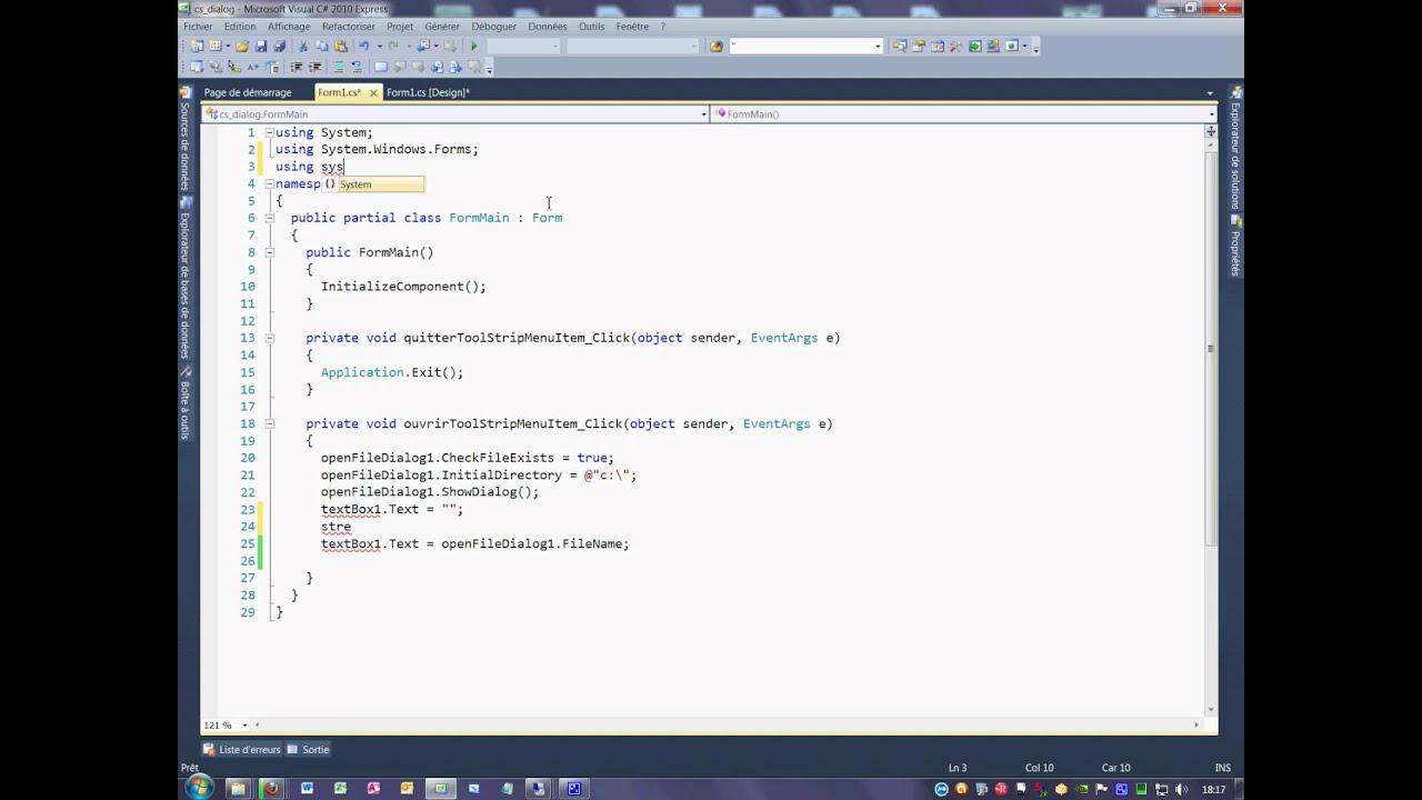 Tutoriel 68 OpenFileDialog en C# deuxième partie en français