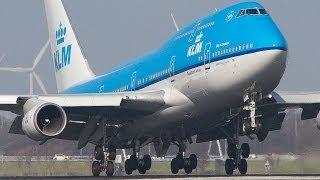 Amsterdam Schiphol Close-up Landings Boeing 747, B777, MD11.  Part 2/2
