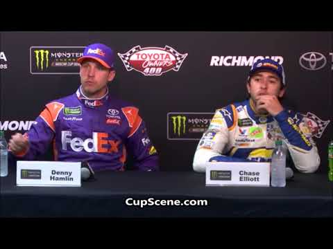 NASCAR at Richmond Raceway, April 2018: Denny Hamlin, Chase Elliott post race