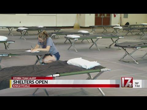 Coastal evacuees begin to arrive at Knightdale High School