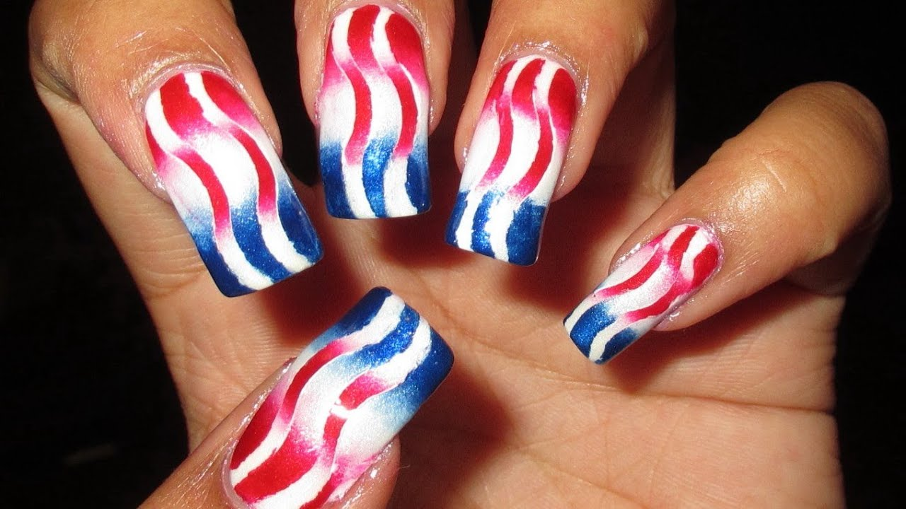 Patriotic Reciprocal Gradient Nail Art Tutorial - YouTube