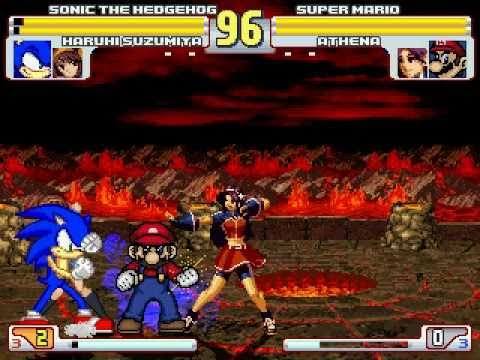 Sonic And Haruhi Vs Super Mario And Athena MUGEN Battle!!!