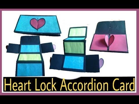 Heart Lock Accordion Card Tutorial How To Make Scrapbook Card
