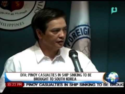 NewsLife: DFA: Pinoy casualties in ship sinking to be brought to South Korea || Dec. 11, 2014