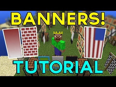Minecraft BANNERS TUTORIAL! (How To Make & Use Banners)