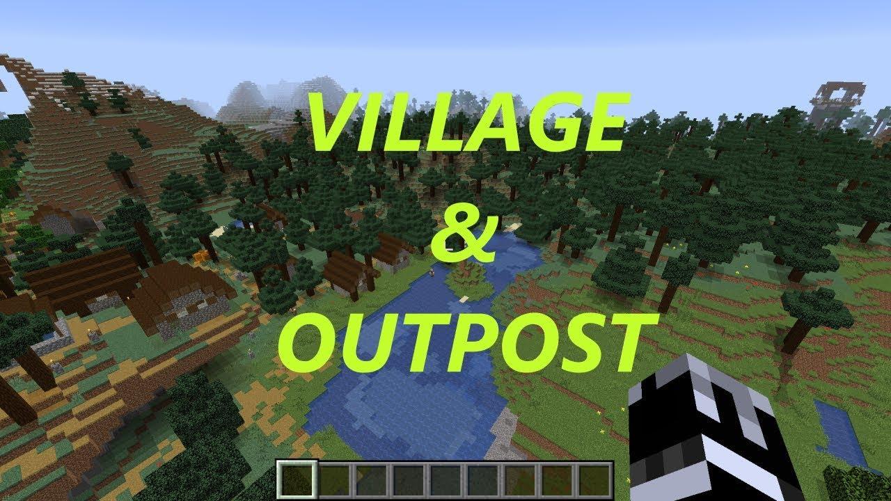 Minecraft 1 14 Village and Pillage (JAVA) - Spruce Village and Pillager  Outpost Near Spawn!