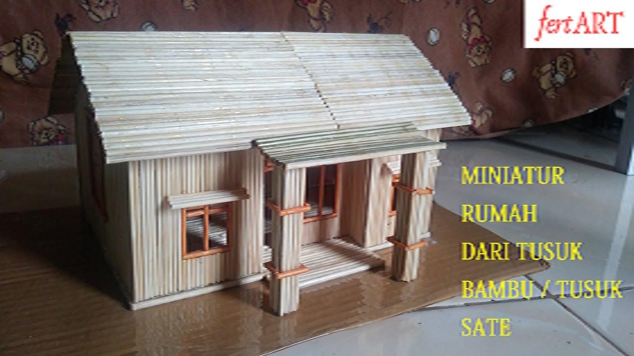 Diy Miniatur Rumah Dari Tusuk Sate How To Make A Wooden Stick House Youtube Gambar rumah tusuk sate