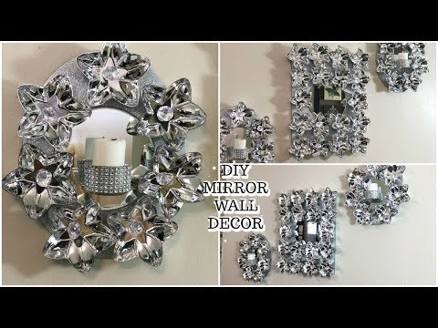DOLLAR TREE DIY | GLAM MIRROR WALL ART | SCONCE | DIY HOME DECOR IDEAS