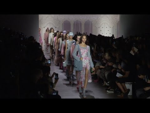 Models and designer on the runway for the Anna Sui Fashion Show in NYC
