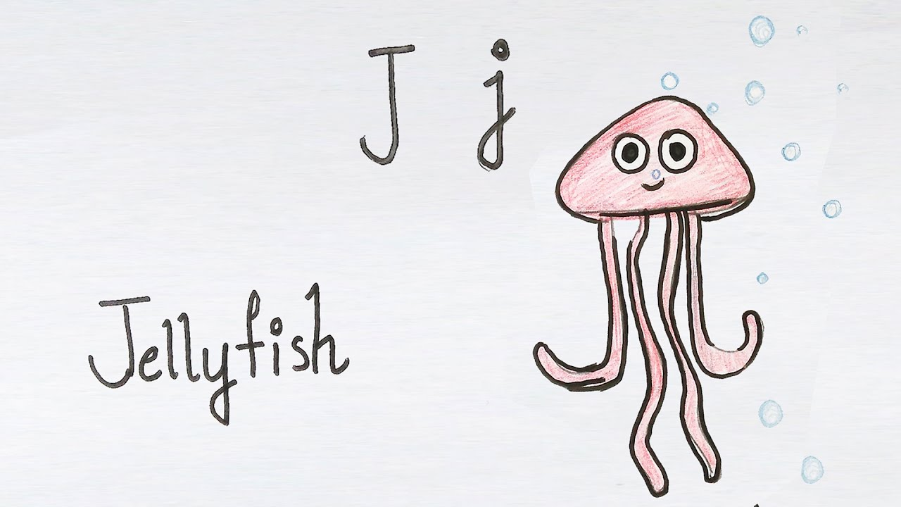 j for jellyfish how to draw using alphabets fun with alphabets