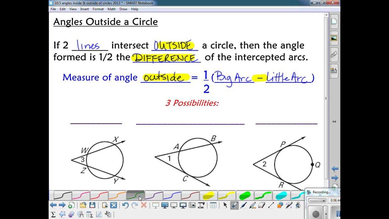 Marvelous 10.5 Angles Inside U0026 Outside Circles