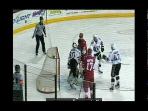 CHL Allen-Arizona hockey fight - Clarke dropped by Larocque 11/23/12