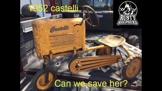 Restoration of a 1952 Castelli pedal tractor. Pedal car.