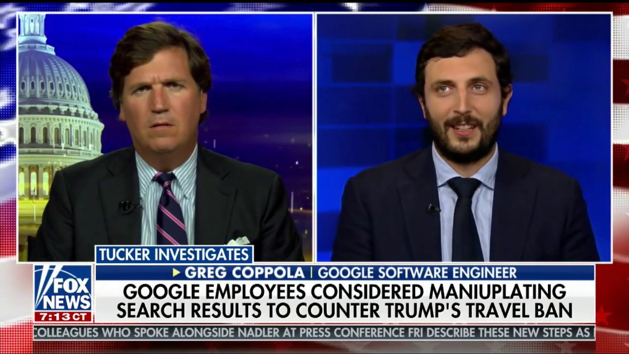 Project Veritas Google Insider, Greg Coppola, Talks Political Bias at Google On Tucker Carlson