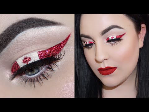 CANADA DAY GLITTER FLAG LINER MAKEUP TUTORIAL