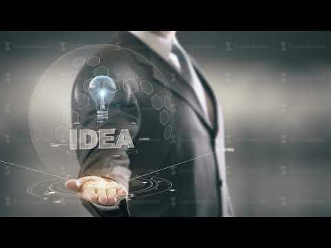 Idea with bulb hologram businessman concept