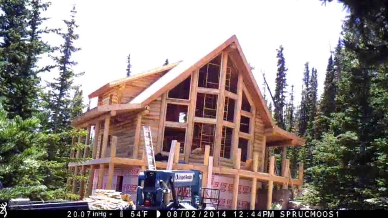 Log home construction time lapse youtube for Log construction