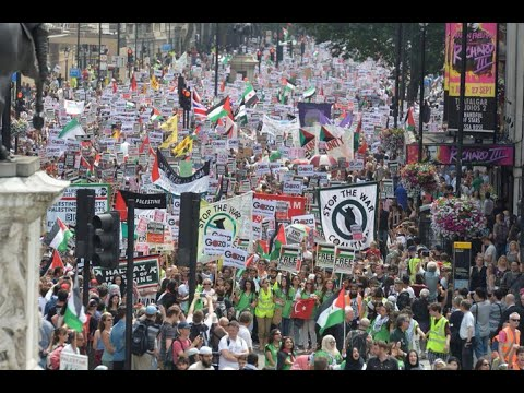 Gaza protests: Thousands attend pro-Palestinian London demo