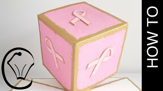Gravity Defying Cube Cake for Breast Cancer Awareness Charity by Cupcake Savvy's Kitchen