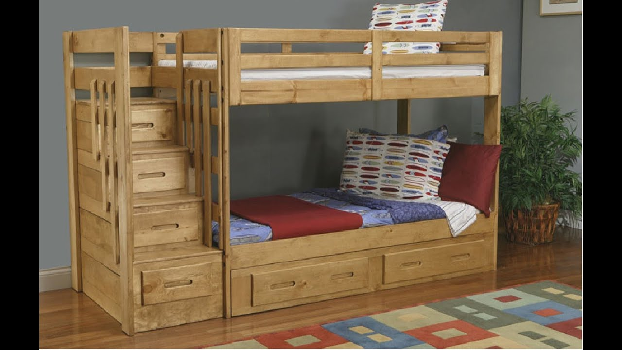 Bunk bed with stairs build bunk bed with stairs youtube - Bunk bed with drawer steps ...