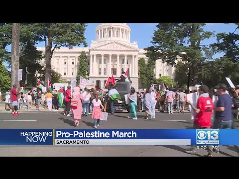 Protesters March In Sacramento In Support Of Palestinians Amid Israeli Conflict