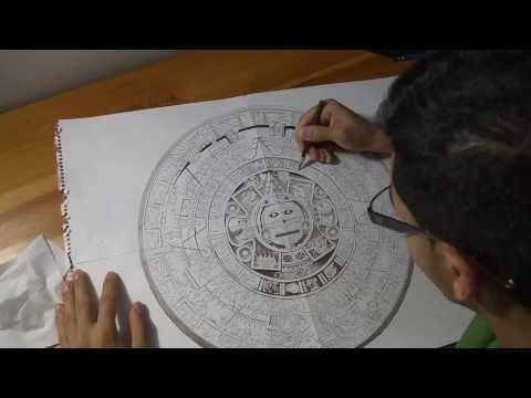 Aztec Calendar Drawing Time Lapse
