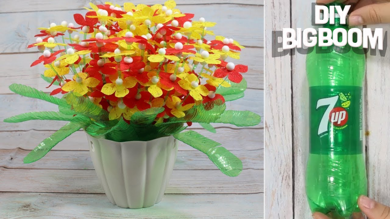 YouTube & How to make Flower Pot with plastic bottle (7 Up) |Quicky \u0026 EASY | DBB