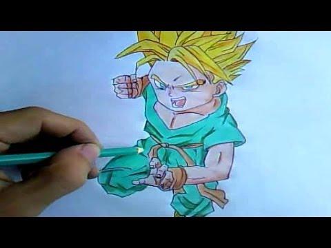 como desenhar trunks super saiyajin dragon ball z desenha fácil