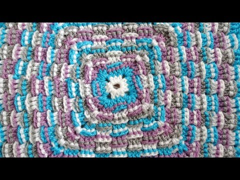 Basket weave Granny Square - Right Handed Crochet Tutorial