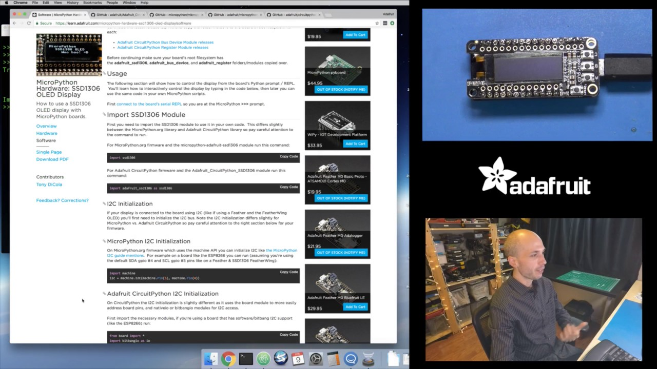 MicroPython framebuf module and SSD1306 display with Tony D!