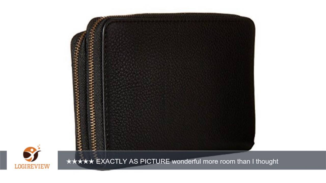 f72582ef2f69 Michael Kors Adele Double-Zip Wallet Pebbled leather Black Gold ...