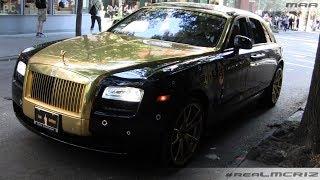 Toyota Supra - Gold Rolls Royce Ghost - SLS AMG - Car Spotting in NYC