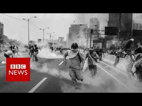 On the front line of Caracas protests - BBC News