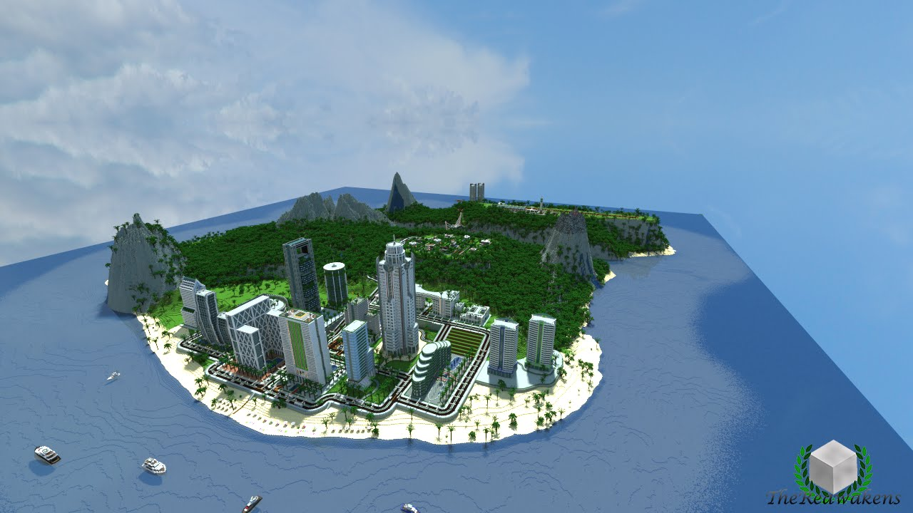 Minecraft Timelapse Crystal Island Summer Resort Youtube