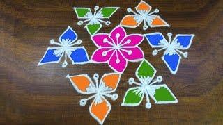 #300 - Rangoli Artl   Easy Rangoli Designs with 9 to 5 interlaced dots Kolam Design
